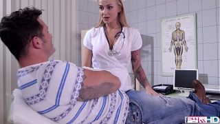Busty doctor Kayla Green footjobs her patient's cock until he busts a nut