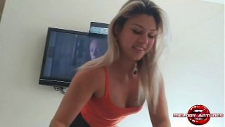 cute blonde melody gives a great blow job before riding her boy friend